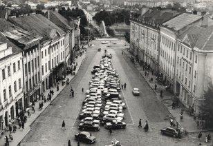 Tartu Raekoja plats (tollase nimega Nõukogude väljak). Foto Muinsuskaitseameti arhiivist