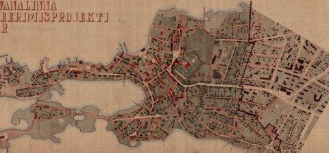 Joonisel fragment Haapsalu vanalinna detailplaneerimisprojekti korrektuurist. Graafiline osa 1980 (ERA.T-76.1.5084)