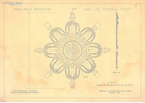 Kolga mõisa saali lagi. Foto 1952, Muinsuskaitseameti arhiiv