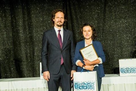 I preemia laureaat Mari Tõrv kultuuriminister Indrek Saarega
