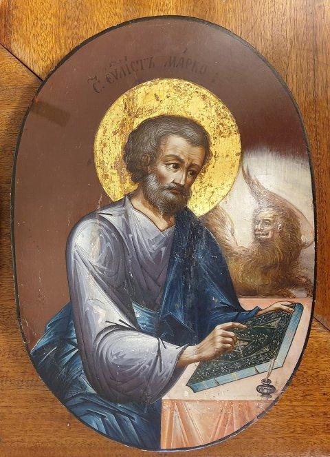 1990ndatel kirikust varastatud ja 2019. aastal taas koju jõudnud ikoon, mis kujutab on evangelist Markust